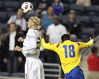 Brek Shea #23 of the USA MNT heads away from Camilo Zuniga #18 of Colombia during an international friendly match at PPL Park, on October 12 2010 in Chester, PA. The game ended in a 0-0 tie.