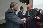 Cardinal Timothy Dolan, the archbishop of New York, greets local Muslim leaders as he arrives in Inishke, Iraq, on April 10, 2016. Dolan, chair of the Catholic Near East Welfare Association, is in Iraqi Kurdistan with other church leaders to visit with Christians and others displaced by ISIS. They celebrated Mass in the Chaldean Catholic church with local residents and displaced Christians living in local villages.<br /> <br /> CNEWA is a papal agency providing humanitarian and pastoral support to the church and people in the region.