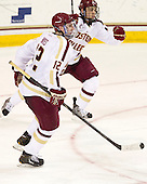 Kevin Hayes (BC - 12), Johnny Gaudreau (BC - 13) - The Boston College Eagles defeated the visiting Boston University Terriers 5-2 on Saturday, December 1, 2012, at Kelley Rink in Conte Forum in Chestnut Hill, Massachusetts.