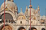 The facade of Saint Mark's Basilica in Venice, Italy