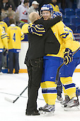 Stefan Ladhe (Sweden - Assistant Coach), Daniel Brodin (Sweden - 26) - Team Sweden celebrates after defeating Team Switzerland 11-4 to win the bronze medal in the 2010 World Juniors tournament on Tuesday, January 5, 2010, at the Credit Union Centre in Saskatoon, Saskatchewan.