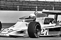 INDIANAPOLIS, IN: Janet Guthrie leaves the pit lane in her Lightning 76 1/Offenhauser TC during practice for the Indianapolis 500 on May 29, 1977, at the Indianapolis Motor Speedway.