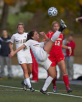 Boston College forward Alaina Beyar (17) clears the ball. Boston College defeated Marist College, 6-1, in NCAA tournament play at Newton Campus Field, November 13, 2011.