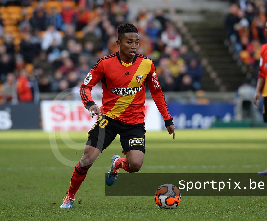 20140201 - LENS , FRANCE : RC Lens's Lalaina Nomenjanahary pictured during the soccer match between Racing Club de LENS and Stade Lavallois , on the twenty second matchday in the French Ligue 2 at the Stade Bollaert Delelis stadium , Lens . Saturday 1st February 2014. PHOTO DAVID CATRY