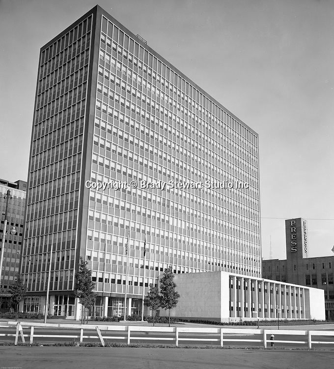 Pittsburgh PA:  View of the new State Office Building in Pittsburgh - 1957.  The building was part of Renaissance 1 development of the Point area.  Building was sold in 2009 to save the State money.