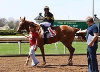 LEXINGTON, KY - April 09, 2017, #11 Happy Like a Fool and jockey Julio Garcia win the 2nd race , Maiden $60,000 for 2 year old fillies at Keeneland Race Course.  Lexington, Kentucky. (Photo by Candice Chavez/Eclipse Sportswire/Getty Images)