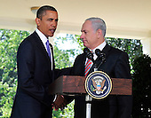 United States President Barack Obama and Prime Minister Benjamin Netanyahu of Israel shake hands after making a statement on the killings in the West Bank after their meeting in the Oval Office of the White House in Washington, D.C. on Wednesday, September 1, 2010. .Credit: Ron Sachs / Pool via CNP