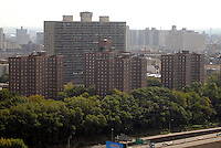 Densely packed apartment buildings in the NYC borough of the Bronx on October 7, 2007. In the foreground is a NYCHA  project. (© Richard B. Levine)