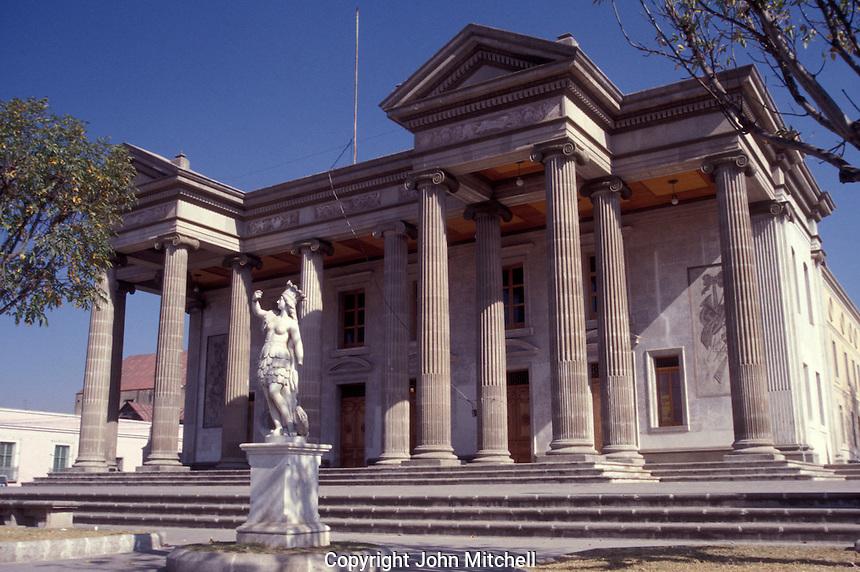 The neoclassical style Teatro Municipal or Municipal Theatre in the city of Quetzaltenango, Guatemala