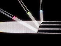 ANGLE OF INCIDENCE EQUALS ANGLE OF REFLECTION<br /> A Single Light Beam Reflected By Three Mirrors<br /> A single light beam moves from the left. The light beam is reflected in each of the three mirror surfaces at the right and three separate light beams are reflected from the separate mirror surfaces at the right.