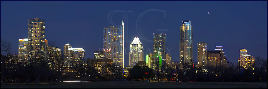 Nighttime at Zilker Park in Austin, Texas, can be a pretty nice time to take a walk around Zilker Park and enjoy the views of the Austin skyline... even in January.