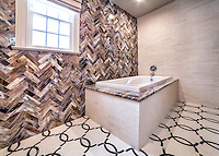 Custom Seine bath floor, a water jet stone mosaic, shown in Ivory Cream and Saint Laurent with 3&quot;x12&quot; Lavastone glass bricks, and 3&quot;x12&quot; Ivory Cream bricks.<br /> -photo courtesy of Mediterranean Tile Marble; medtile.com
