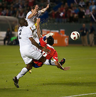 CARSON, CA – JANUARY 22: Chile forward Estaban Paredes (9) splits the USA defense and scores during the international friendly match between USA and Chile at the Home Depot Center, January 22, 2011 in Carson, California. Final score USA 1, Chile 1.