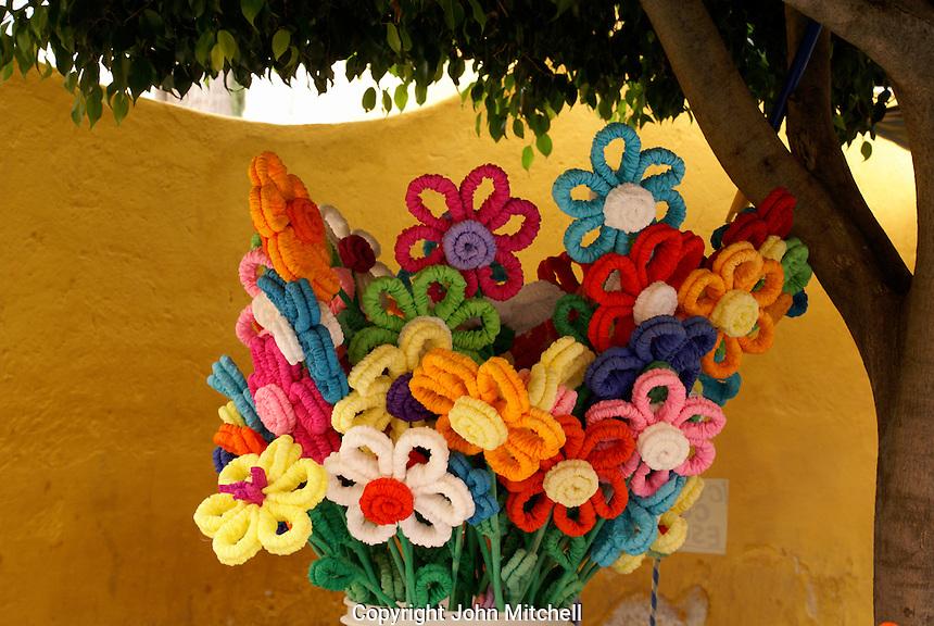 Artificial flowers in San Miguel de Allende, Mexico