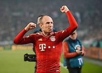 FUSSBALL   DFB POKAL   SAISON 2011/2012   HALBFINALE   21.03.2012 Borussia Moenchengladbach - FC Bayern Muenchen  SCHLUSSJUBEL FC Bayern Muenchen;  Arjen Robben