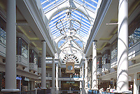Interior of The Bay Centre Shopping Mall, Victoria, BC, British Columbia, Canada - British Empire Clock hanging from Ceiling