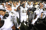 Vanderbilt players celebrate a 27-26 win over Ole Miss at Vaught-Hemingway Stadium in Oxford, Miss. on Saturday, November 10, 2012.