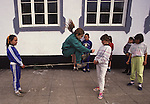 Children jump rope during school recess on Terceira, Azores. Far out in the Atlantic Ocean, some 850 miles off the western coast of Lisbon, Portugal lies the 425-mile long archipelago of the Azores. (Jim Bryant Photo).....