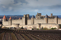 Low angle view of Citadel of Carcassonne, 13th century, and adjacent vineyard, Carcassonne, Aude, France, pictured on February 24, 2007, at midday on a cloudy winter's day. The two outer walls of the concentric fortified city are defended by towers and barbicans, and a draw bridge across a moat leads to the keep of the castle. Carcassonne was a stronghold of Occitan Cathars during the Albigensian Crusades but was captured by Simon de Montfort in 1209. He added extra fortifications and Carcassonne became a citadel on the French border with Aragon. The fortress was restored in 1853 by Eugene Viollet-le-Duc. Today it is a UNESCO World Heritage site. Picture by Manuel Cohen.