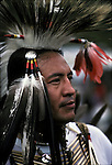 Head and shoulders portrait of Native American dancer dressed regalia for pow wow