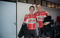 Sean De Bie (BEL/Lotto-Soudal) & Tim Wellens (BEL/Lotto-Soudal) ahead of the Grande Partenza in Apeldoorn (NLD): team presentation of the 99th Giro d'Italia 2016 on the evening before the 1st stage