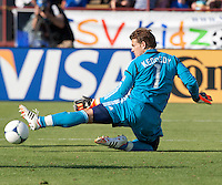 Santa Clara, California - Sunday May 13th, 2012: Dan Kennedy of Chivas USA makes a leg save during a Major League Soccer match against San Jose Earthquakes at Buck Shaw Stadium