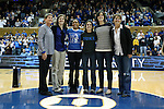 27 January 2013: Duke honored their NCAA Final Four team from 2002-03 at halftime. From left: Assistant coach Gale Valley, Georgia Schweitzer, Lindsey Harding, Vicki Krapohl, Michele Matyasovsky, head coach Gail Goestenkors. The Duke University Blue Devils played the Boston College Eagles at Cameron Indoor Stadium in Durham, North Carolina in an NCAA Division I Women's Basketball game. Duke won the game 80-56.