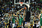 03 APR 2012: Brittney Griner (42) of Baylor University blocks the shot by Kayla McBride (23) of the University of Notre Dame during the Division I Women's Basketball Championship held at the Pepsi Center in Denver, CO. Stephen Nowland/NCAA Photos