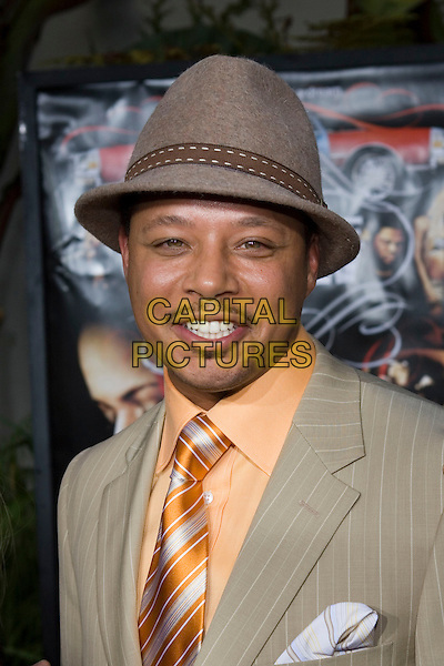 """TERRENCE HOWARD.At the """"Hustle & Flow"""" Los Angeles Film Premiere,.held at the Arclight Cinerama Dome, .Hollywood, California, USA, 20th July 2005..portrait headshot hat orange shirt tie terence terrance.Ref: ADM.www.capitalpictures.com.sales@capitalpictures.com.©Zach Lipp/AdMedia/Capital Pictures."""