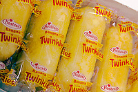 A box of banana-flavored, creme-filled, tasty Twinkies is seen on April 11, 2006. As a tie-in with the movie King Kong, Hostess released a limited edition banana creme-filled Twinkie which was the original recipe dating to the origin of the snack in 1930.  Twinkies were banana flavored until a banana shortage during World War II forced Hostess to switch to vanilla creme filling. (© Richard B. Levine)