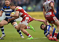 Jonny May of Gloucester Rugby is tackled by Elliott Stooke of Bath Rugby. Aviva Premiership match, between Bath Rugby and Gloucester Rugby on April 30, 2017 at the Recreation Ground in Bath, England. Photo by: Patrick Khachfe / Onside Images