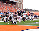 September 18 - Champaign, Illinois, USA - Illinois running back Mikel Leshoure (5) scores on a 29 yard run in the game between the University of Illinois Fighting Illini and the Northern Illinois University Huskies at Memorial Stadium.  The Illini defeated the Huskies 28 to 22.