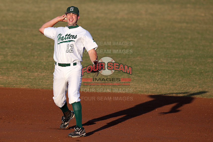 Stetson Hatters Ryan Lashley #12 during a game vs Siena Saints at Melching Field in De Land, Florida;  March 16, 2011.  Stetson defeated Siena 5-1.  Photo By Mike Janes/Four Seam Images