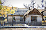 Old buildings stand in the historic ghost town of Bannock, Montana.