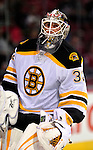 24 September 2009: Boston Bruins' goaltender Dany Sabourin warms up prior to facing the Montreal Canadiens at the Bell Centre in Montreal, Quebec, Canada. The Bruins defeated the Canadiens 2-1 in an overtime shootout. Mandatory Photo Credit: Ed Wolfstein Photo