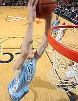 Jan. 8, 2011; Charlottesville, VA, USA;  North Carolina Tar Heels forward Tyler Zeller (44) shoots the ball during the game against the Virginia Cavaliers at the John Paul Jones Arena. North Carolina won 62-56. Mandatory Credit: Andrew Shurtleff