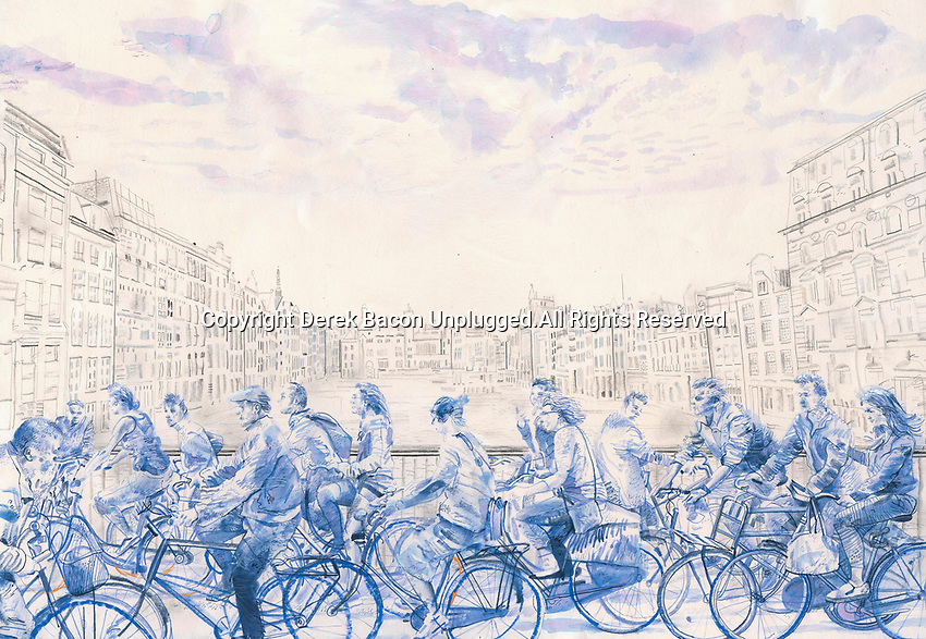 Blue watercolor painting of lots of cyclists crossing bridge in Amsterdam, the Netherlands