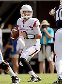 HAWGS ILLUSTRATED JASON IVESTER --08/30/2014--<br /> Arkansas junior quarterback Brandon Allen drops back to pass on Saturday, Aug. 30, 2014, against Auburn at Jordan-Hare Stadium in Auburn, Ala.