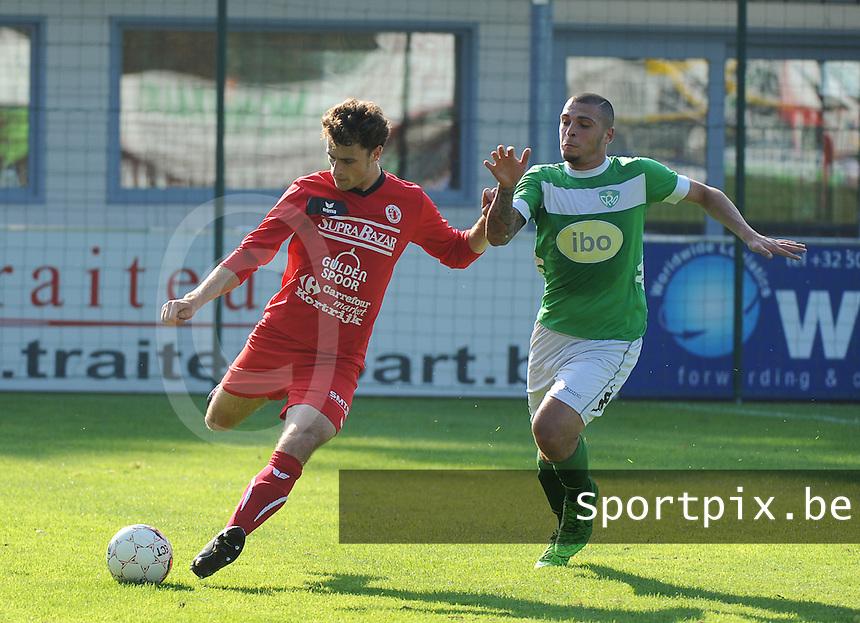 Gullegem - RC Mechelen   : <br /> Nicolas Mulliez (L) ontzet de bal voor de aanstormende Sandro Tardio (R)<br />   Foto VDB / Bart Vandenbroucke