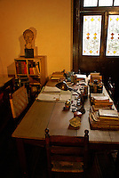 Leon Trotsky's study in the Museo Casa de Leon Trotsky or Leon Trotsky House Museum in Coyoacan, Mexico City. This is the desk that Trotsky was sitting at when he was murdered in 1940.