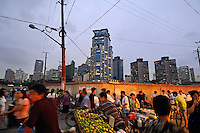 Dajing Lu market in Shanghai's old Chinese city, one of the city's oldest and busiest wet markets, surrounded by new developments.