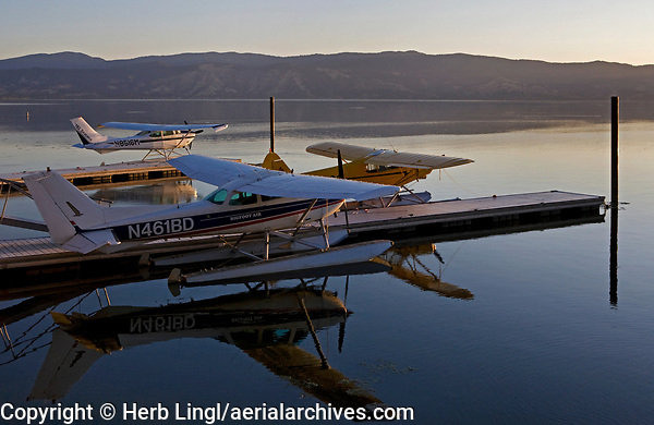 Seaplanes Docked at the Sky Lark Resort at the Splash-In, Lakeport, California, Lake County, California