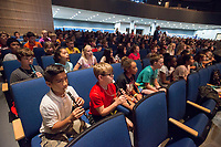 NWA Democrat-Gazette/ANTHONY REYES @NWATONYR<br /> Reagan Elementary students play their recorders Tuesday, May 16, 2016 during a performance by the Arkansas Philharmonic Orchestra at Rogers High School auditorium. The students have been studying a music curriculum, &quot;The Orchestra Rocks.&quot; The students sang and played a recorder during parts of the performance with the orchestra.