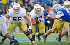 Oct. 26, 2013; Offensive guard Conor Hanratty (65) and captain Zack Martin (70) block.
