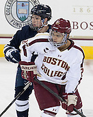Cody Learned (Yale - 12), Quinn Smith (BC - 27) - The Boston College Eagles tied the visiting Yale University Bulldogs 3-3 on Friday, January 4, 2013, at Kelley Rink in Conte Forum in Chestnut Hill, Massachusetts.