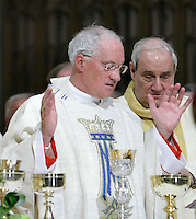 Cardinal Marc Ouellet, left and Archbishop of Montreal Jean-Claude Turcotte, right, take part into Mgr. Ouellet farewell Mass in Sainte-Anne-de-Beaupre Basilica, 45 minutes East of Quebec City, August 15 2010. Cardinal Ouellet leaves Quebec for Vatican, as we was recently named Prefect of the Congregation for Bishops and President of the Pontifical Commission for Latin America.