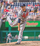 14 April 2013: Atlanta Braves pitcher Cory Gearrin on the mound against the Washington Nationals at Nationals Park in Washington, DC. The Braves shut out the Nationals 9-0 to sweep their 3-game series. Mandatory Credit: Ed Wolfstein Photo *** RAW (NEF) Image File Available ***