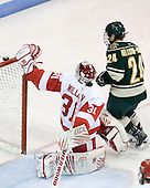 Kieran Millan (BU - 31), Tobias Nilsson-Roos (Vermont - 24) - The visiting University of Vermont Catamounts tied the Boston University Terriers 3-3 in the opening game of their weekend series at Agganis Arena in Boston, Massachusetts, on Friday, February 25, 2011.