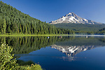 Trillium Lake with Mt Hood in the background and fisherman on the lake