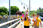 Waterbury, CT- 21  May 2017-052117CM01- Paul Epperson walks with his daughters, Elizabeth,  (on his shoulders) and Isabelle, both 3 years old, along with his brother Tim Epperson, of Waterbury, during the Greater Waterbury Interfaith Ministries' annual Hunger Walk on Sunday.  Approximately 250 people marched around city in support of ending hunger.  GWIM provides hot meals and food services in the area to those who are less than fortunate.      Christopher Massa Republican-American
